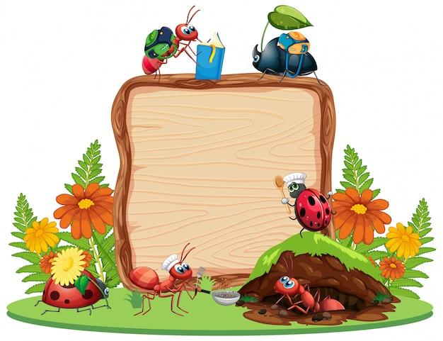 Границы шаблона дизайна с насекомыми на фоне сада Premium векторы