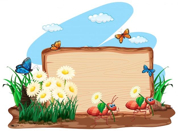 Границы шаблона дизайна с насекомыми на фоне сада Бесплатные векторы