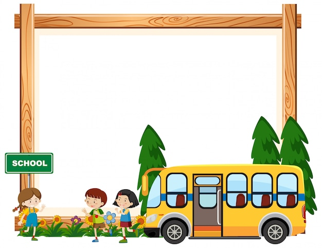 Border template design with kids riding on school bus Free Vector