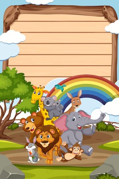 Границы шаблона дизайна со многими дикими животными в фоновом режиме Premium векторы