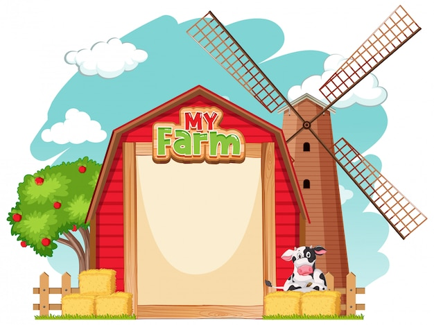 Border template design with red barn and cow Free Vector
