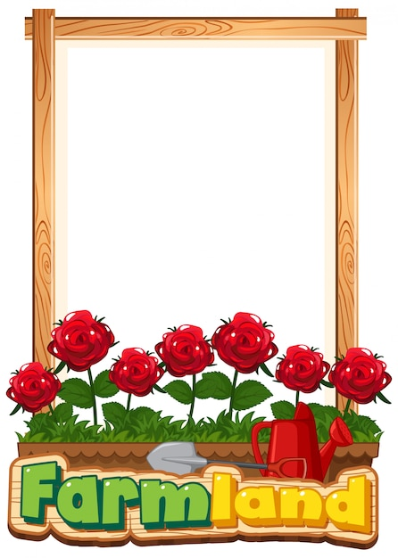 Border template design with red roses in the garden   Free ...
