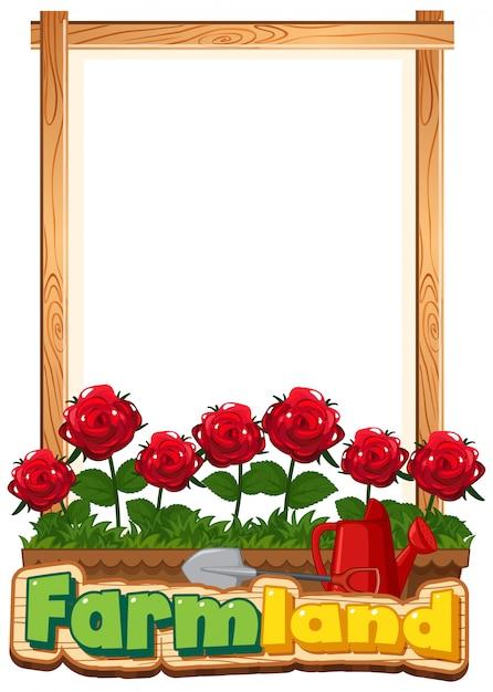 정원에서 빨간 장미와 테두리 서식 파일 디자인 무료 벡터