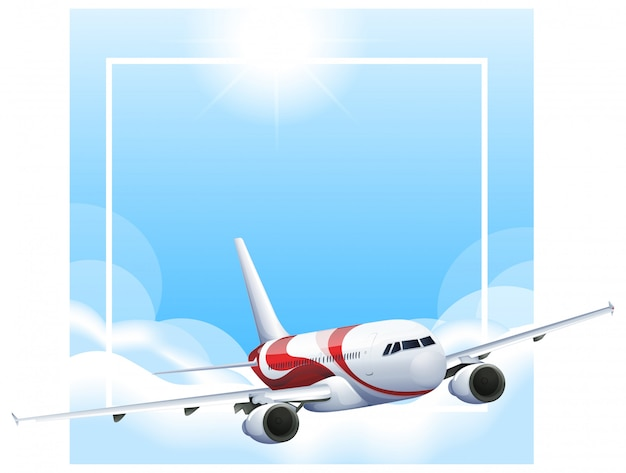 Border template with airplane flying in sky Free Vector