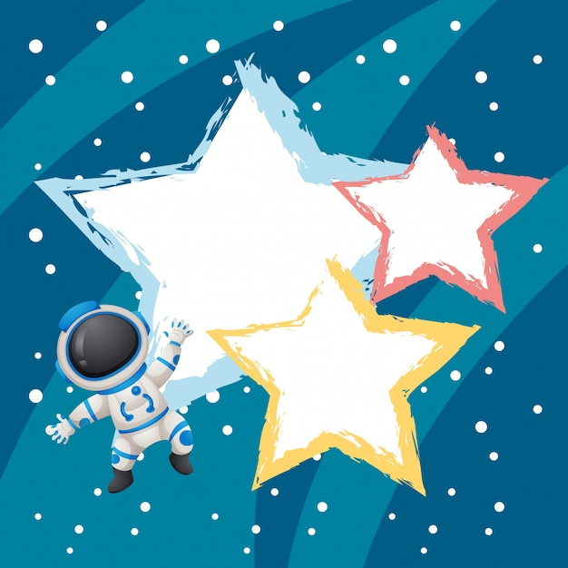 border template with astronaunt and stars vector free download