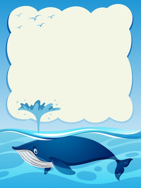 Border template with blue whale in the ocean