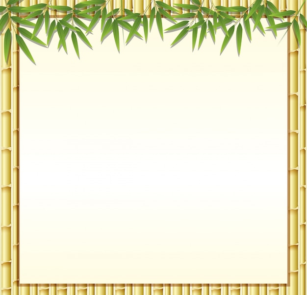 border template with brown bamboo stems vector premium