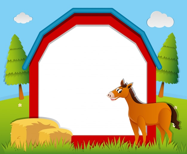 Border template with brown horse