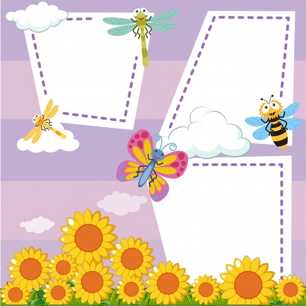 border template with bugs in sunflower garden vector free download