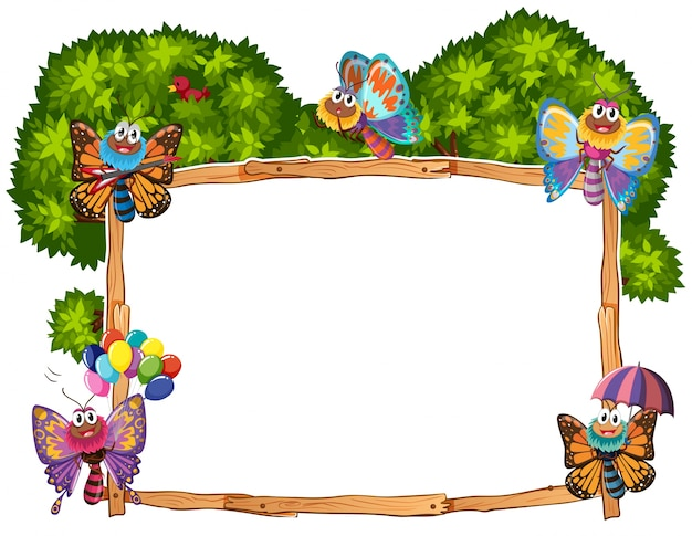 Border template with butterflies in garden