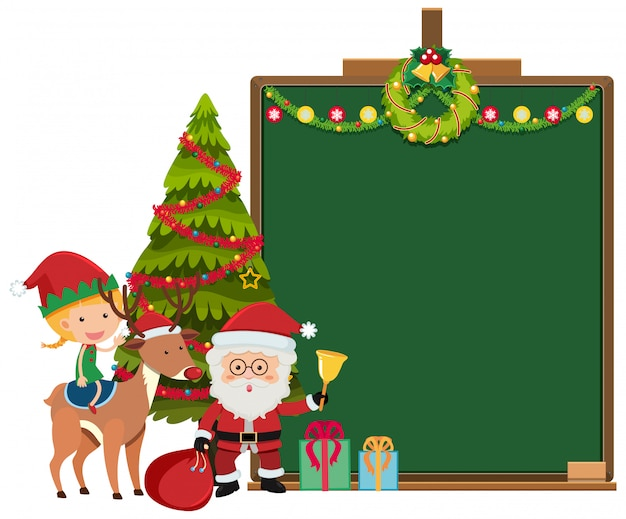 Border template with christmas theme background Premium Vector