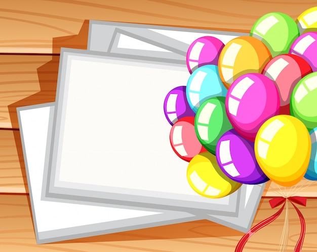Border template with colorful balloons Vector | Free Download