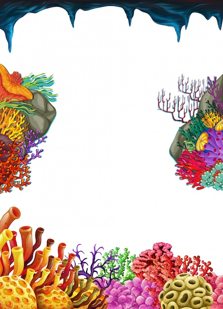 Border template with coral reef underwater Vector | Premium Download