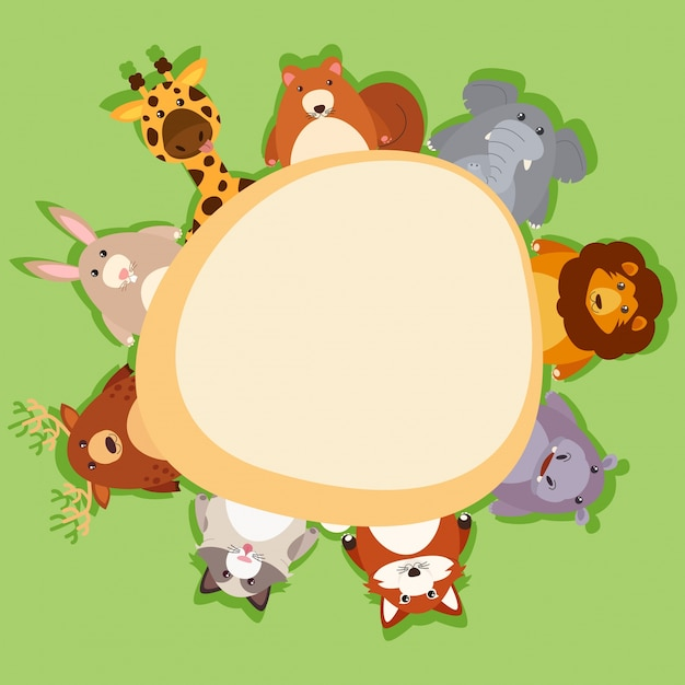 Border template with cute animals on green background Free Vector