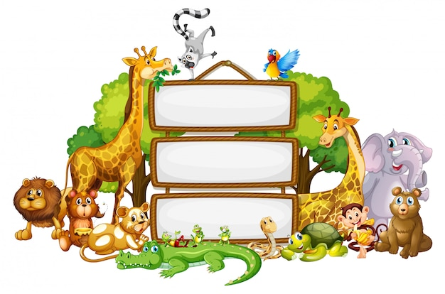 Border template with cute animals Free Vector