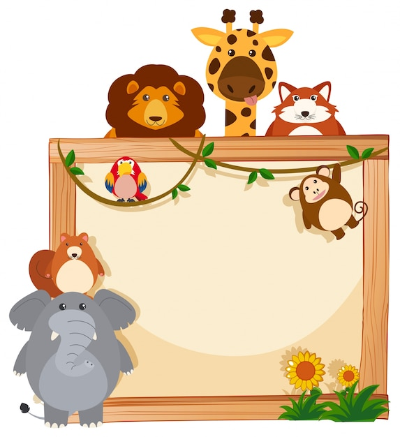 Border Template With Cute Animals Vector Free Download