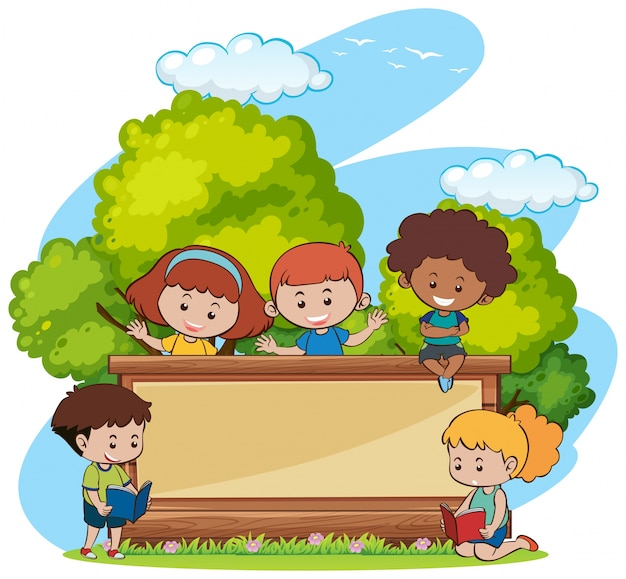 Border template with cute girls and boys in park Free Vector