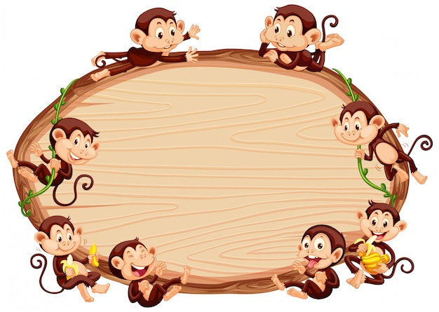 Border template  with cute monkeys Free Vector