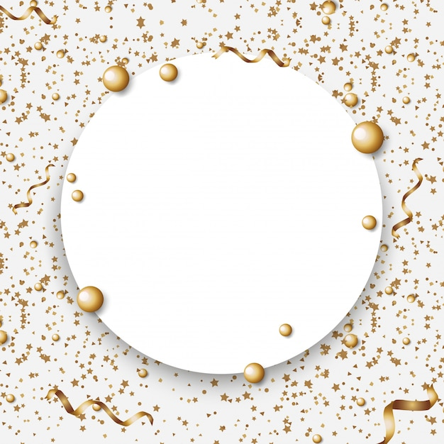 Border template with golden balls and ribbons Premium Vector