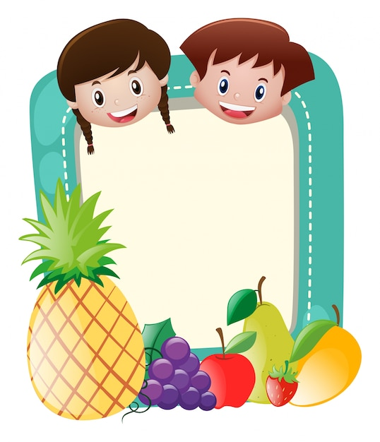 Border template with kids and fruits
