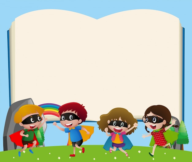 Character Design Book Free Download : Border template with kids playing hero vector free download