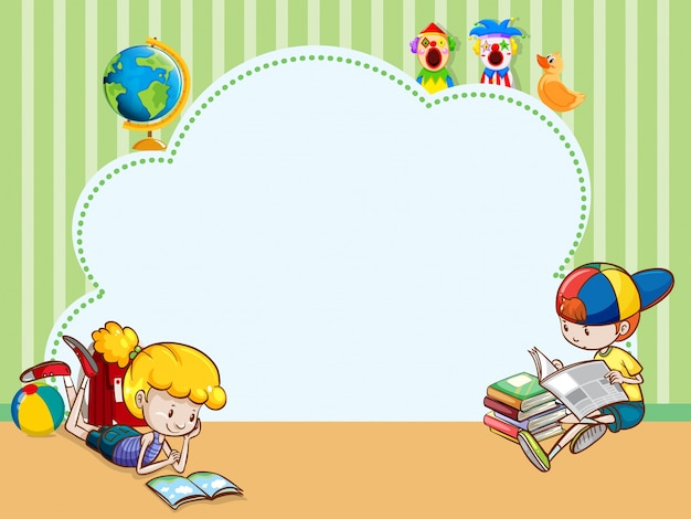 border template with kids reading books vector free download