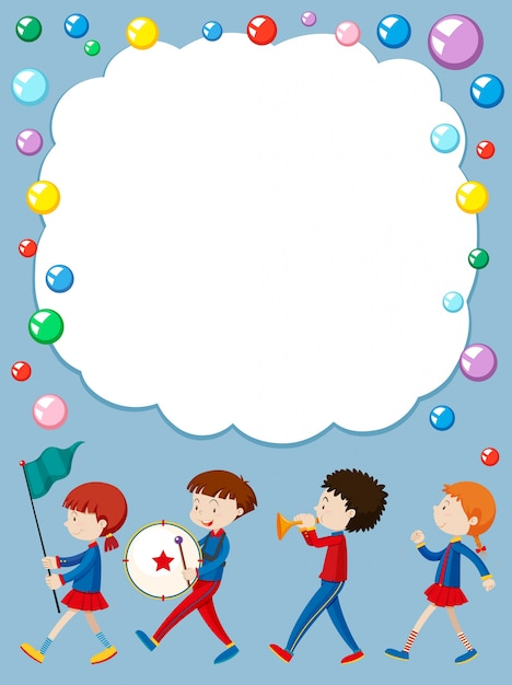 Border template with kids in school band Premium Vector