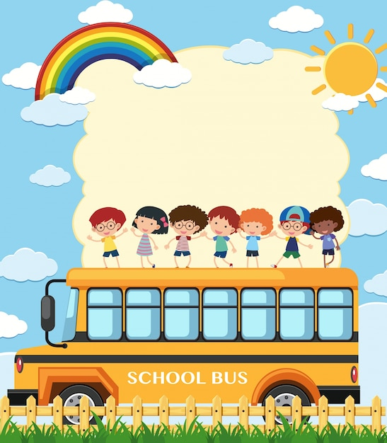 Border Template With Kids On School Bus Vector