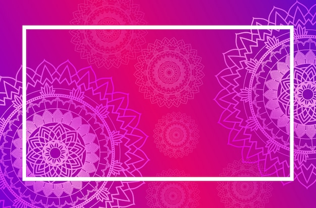 Border template with mandala pattern in pink Free Vector