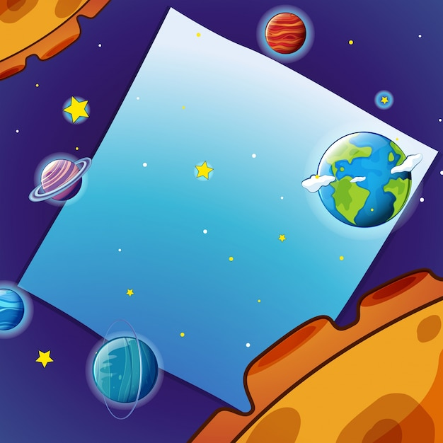 border template with many planets in space vector free download
