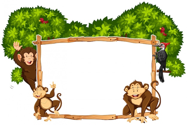 Border template with monkeys and toucan Free Vector