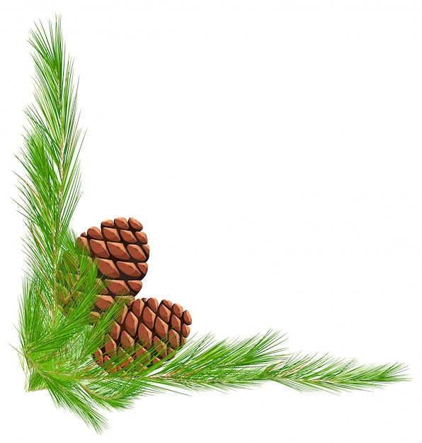 Border template with pinecones and leaves Free Vector