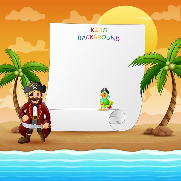 ビーチで海賊と枠線テンプレート Premiumベクター