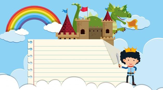 Шаблон границы с принцем и драконом в замке Premium векторы