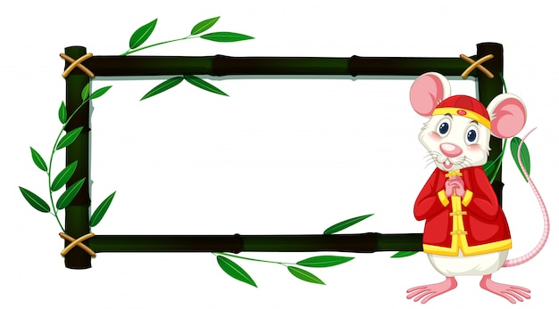 Border template with rat in chinese costume and bamboo frame Free Vector