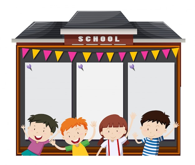 Border template with students at school Free Vector