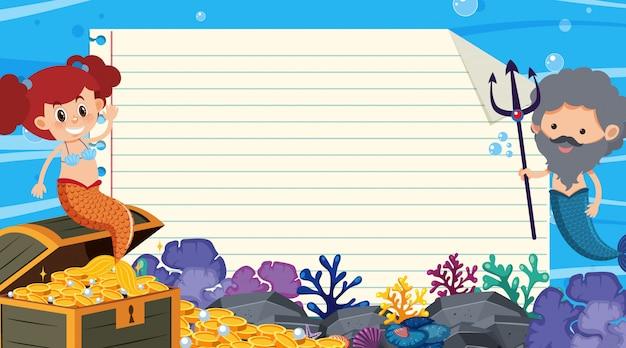 Border template with underwater scene in background Premium Vector