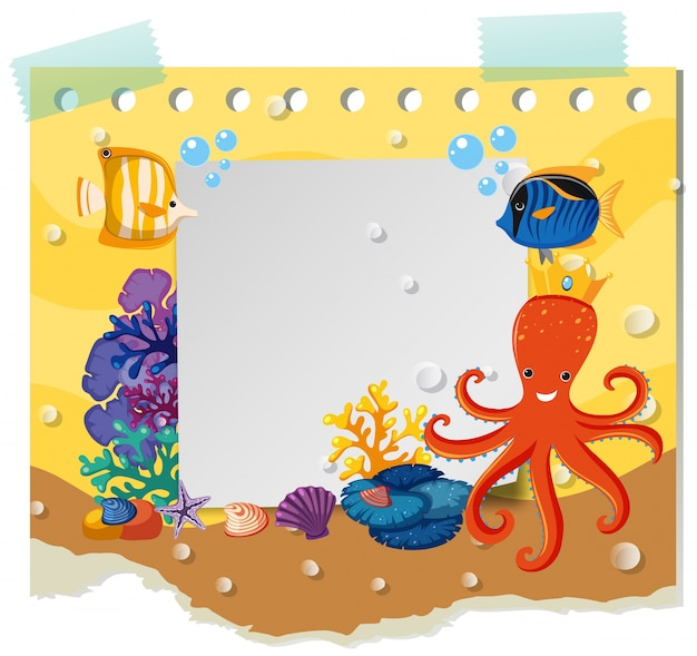 border template with wild animals under the sea vector premium