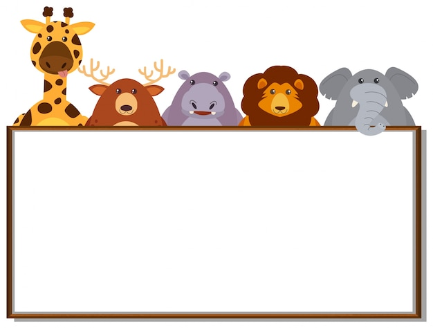 border template with wild animals vector free download