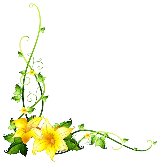 border template with yellow flowers vector free download