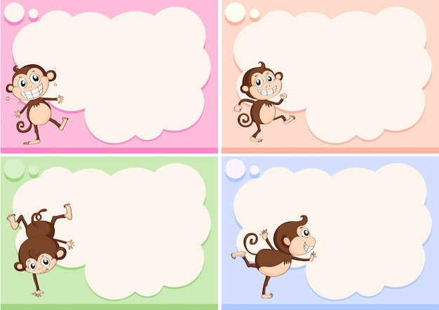 border templates with little monkeys vector free download