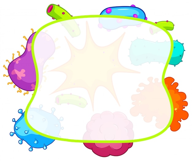 Border with bacteria background Free Vector