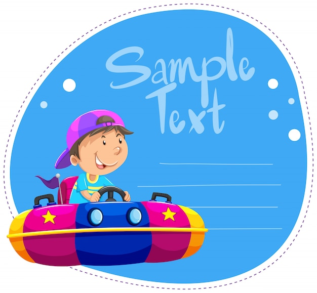 Border with boy on boat Free Vector
