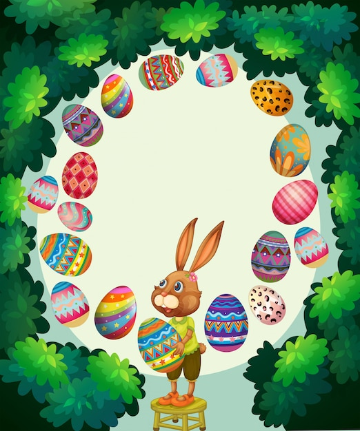 Border with bunny and easter eggs Free Vector