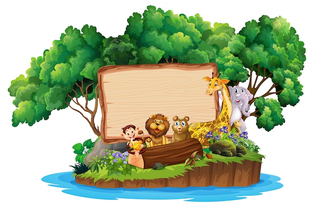 Border  with cute animals on island Free Vector