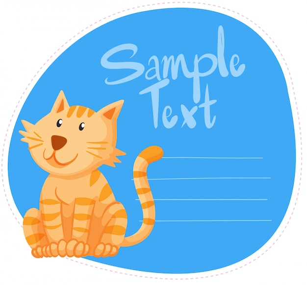 Border with ginger cat Free Vector