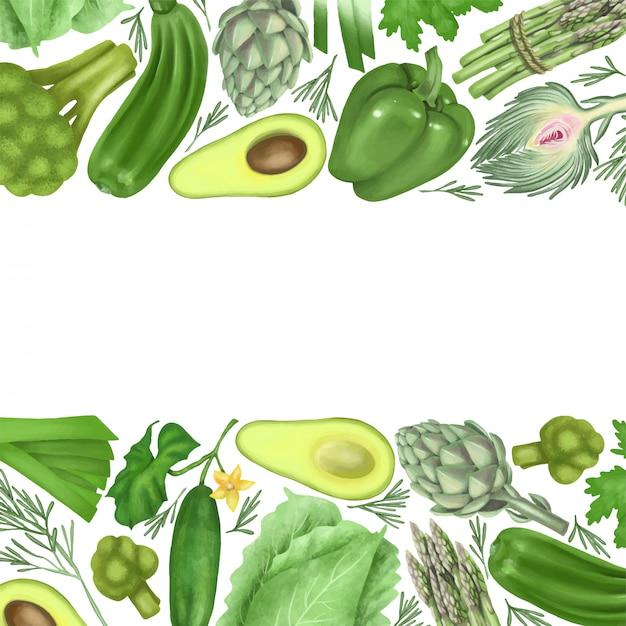 Границы зеленых овощей Premium векторы