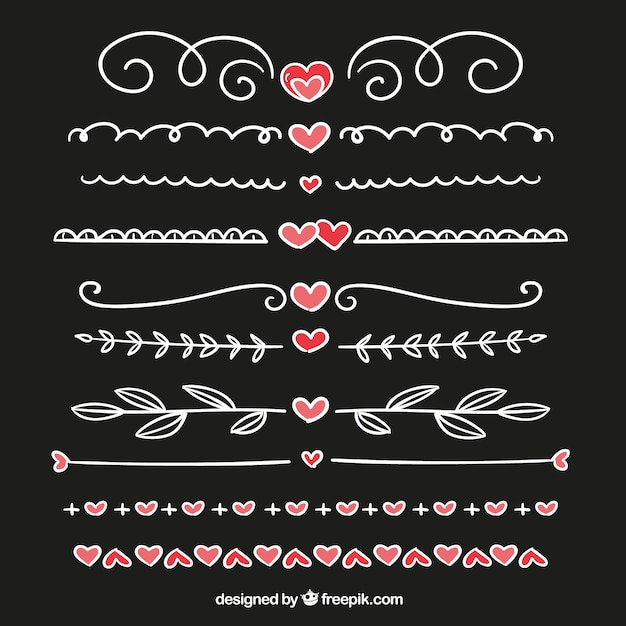 Borders pack with hand drawn hearts detail Free Vector