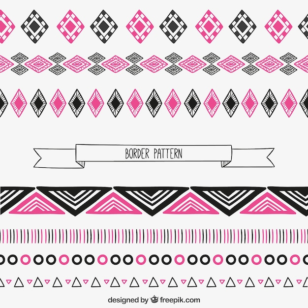 Borders pattern in pink and black colors Free Vector