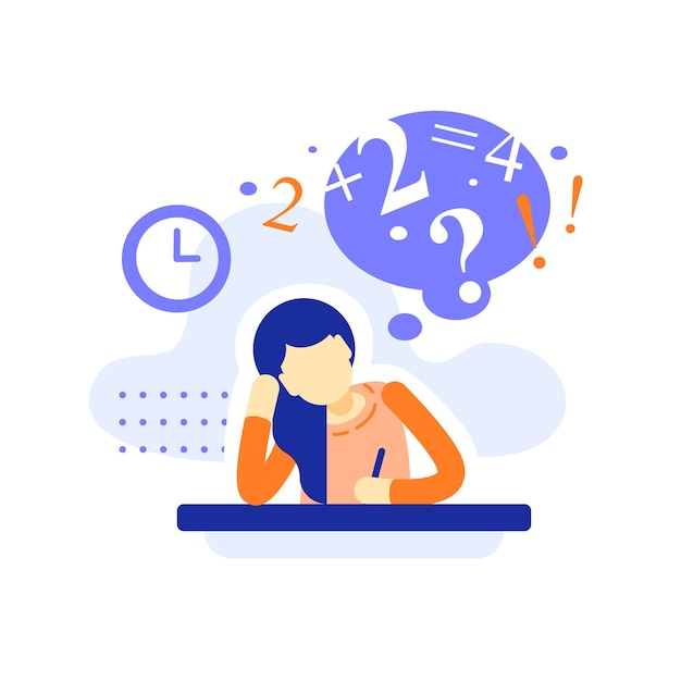 Bored female student at the desk doing homework, difficult  assignment, writing or thinking on task, education concept, bored teenage learner Premium Vector